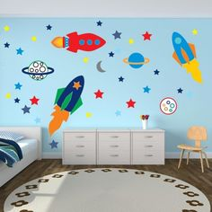 Wandtattoo im Kinderzimmer-Weltraumraketen und Sterne für Jungenzimmer