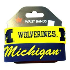 "Michigan Wolverines Rubber Wrist Band Set of 2 NCAA by aminco. Save 6 Off!. $7.50. 8 INCHES AROUND  1 INCH WIDE SILICONE RUBBER  WRIST BAND BRACELE. PERFECT STOCKING STUFFER. ONE SIZE FITS MOST. 100% SATSFACTION GUARANTEED. NCAA OFFICIALLY LICENSED. Show your team spirit all day long! Great for any sports fan. Official product of NCAA. Set of 2 rubber wrist bands. They have a nice, deep lettering and wide, thick band. Elastic band is approx. 1"" wide and 8"" round. 2 colors &..."