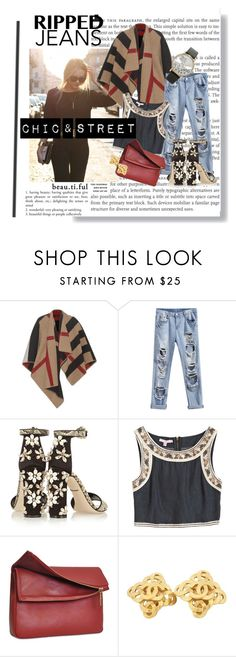 Chic& street by hacii on Polyvore featuring moda, Calypso St. Barth, Burberry, Dolce&Gabbana, Eddie, Forever 21, Chanel, beautiful, rippedjeans and beoriginal