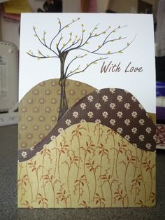 I think I can do this with my tree stamp! Love Cards, Diy Cards, Card Making Inspiration, Making Ideas, Beautiful Handmade Cards, Thanksgiving Cards, Fall Cards, Sympathy Cards, Scrapbook Cards