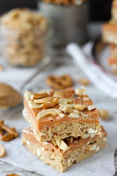 These salty sweet No-Bake Butterscotch Pretzel Bars start with a thick layer of peanut butter and pretzels topped with butterscotch and cashews. These are so quick to throw together and very customizable.