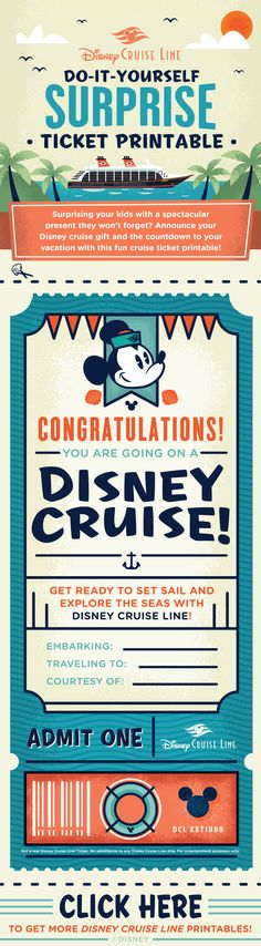 Give the gift of a Disney Cruise vacation with this DIY Surprise Ticket Printable! Save this file to your desktop (Right click the image and select Save Image As) to print it out or click the link for more printables!
