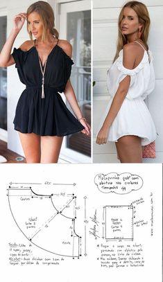 Fashion Sewing, Diy Fashion, Fashion Outfits, Dress Sewing Patterns, Clothing Patterns, Loom Patterns, Como Fazer Short, Costura Fashion, Jumpsuit Pattern