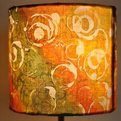 Lamp shade Yellow Orange Green Hand Painted Silk by HaniH on Etsy