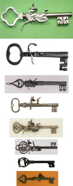 antique key pistols, antiques, keys, guns, pistols, weapons.... these things are the pure epitome of my existence! Just make the other end a pen and there we go! :D