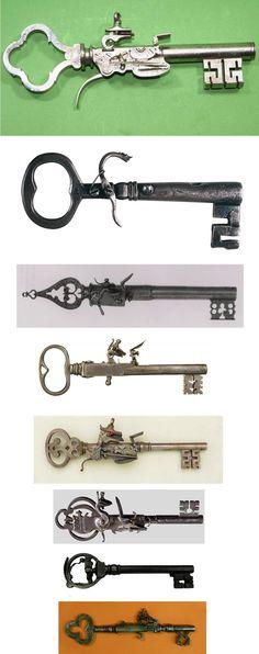 antique key pistols, antiques, keys, guns, pistols, weapons