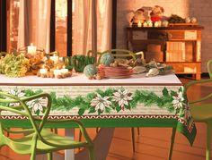 Toalha de mesa Feliz Navidad. Detalhes em ouro e branco mate.