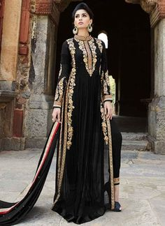 Blooming Black Georgette Designer Salwar Suit http://www.angelnx.com/Salwar-Kameez/Pakistani-Suits