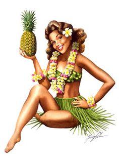 pineapple pin-up girl from Hawaii. This will be me when I win!! #hula #hawaiian #dancer #dance #fire #luau #miami #photo #beautiful