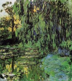 Клод Моне - Weeping Willow and Water-Lily Pond, 1916-19. Клод Оскар Моне