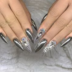 chrome nails top 33 cute silver nail art designs for pretty girlsSilver could be a color that may be carried as regards to in any manner you wish. it's a color that may be combined with a Chrome Nails Designs, Silver Nail Designs, Chrome Nail Art, Silver Nail Art, Metallic Nails, Nail Art Designs, Bling Nails, Stiletto Nails, Coffin Nails