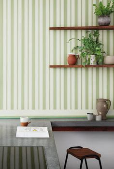 This beautiful Cambridge Stripe Wallpaper by Cole & Son forms part of the new elegant and sophisticated Marquee Stripes Collection. From bold, graphic super-sized stripes, to delicate, hand rendered fine lines. Cole And Son Wallpaper, Green Wallpaper, Striped Wallpaper, Luxury Wallpaper, Modern Wallpaper, Designer Wallpaper, Cole Son, Blue Colour Palette, Made To Measure Curtains