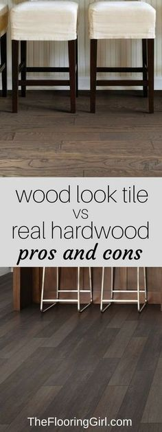 Wood look tiles vs real hardwood flooring. Pros and Cons. Tile planks that look like wood floors. Living Room Hardwood Floors, Hardwood Tile, Real Wood Floors, Wood Tile Floors, Kitchen Flooring, Plywood Floors, Basement Flooring, Painted Floors, Wood Look Tile Floor