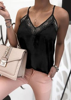 Pretty outfits are made with tops like this one! The v-neckline with lace details and loose fit style makes this a special must have pull-over tank top. Flowing fit ensures easy comfortable wear, quite a great piece for hot summer days! Summer Days, Pretty Outfits, Lace Detail, Loose Fit, Fitness Fashion, Must Haves, Black Tops, Camisole Top, How To Make