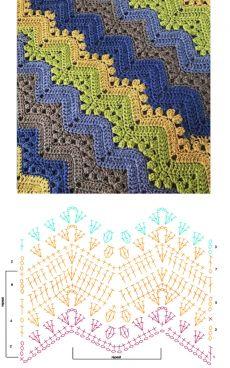 Punto Zig Zag Crochet, Crochet Stitches Chart, Chevron Crochet, Crochet Diagram, Crochet Bedspread Pattern, Crochet Motif Patterns, Crochet Lace Edging, Crochet Designs, Knitting Patterns