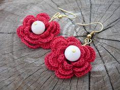 Crochet earrings  flowers by MariAnnieArt on Etsy