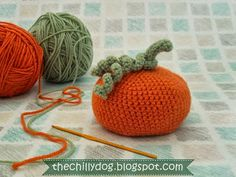 Free PDF: Crocheted Pumpkin Pattern -  How to make a bean bag pumpkin with orange and green yarn from your stash.
