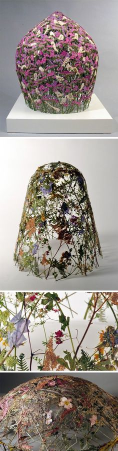 Pressed Flowers Transformed Into Delicate Sculptures by Ignacio Canales Aracil The art of pressing and preserving flowers is a beautiful and simple way to retain the memory of a moment,and it's a green way to create an incredible piece of decor. Spanish artist Ignacio Canales Aracil has taken this crafty technique and bumped it up a notch with his airy and delicate sculptures. Part dome, part surrealism, Aracil's flower sculptures are woven together and explore the fragility of time.