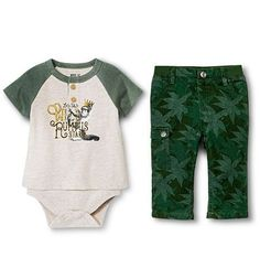 """Where the Wild Things Are"" Infant/Newborn Boys Oatmeal & Green Outfit Set - NEW in Clothing, Shoes & Accessories, Baby & Toddler Clothing, Boys' Clothing (Newborn-5T) 