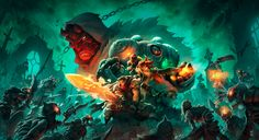 "Battle Chasers: Night War - Key Art Coloring Variant 1 - by Grace Liu Variant 2 - by Johannes Helgeson ""Coloring of an epic drawing done by Joe Madureira, as a key art variant for our dungeon crawler. Joe Madureira, Final Fantasy, Fantasy Art, Dark Fantasy, Battle Chasers, Application Iphone, Character Art, Character Design, Console"