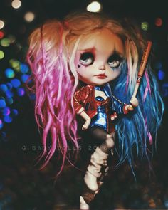 Harley Quinn custom Blythe Doll by G.Baby Dolls