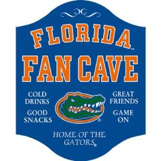 Handcrafted Florida Fan Cave Sign The University Authorized Game Room Signs are one of our most popular and best selling product lines. This signs is a conversation starter for your business and customers. This furniture grade hardwood is light and durable so it lasts a forever. Convenient keyhole hanger is engraved in the back of the sign for easy hanging. Routed edge with gold pinstripe embellishes the modern edge. Bold seriefed lettering in your school's colors. These signs are a heart…