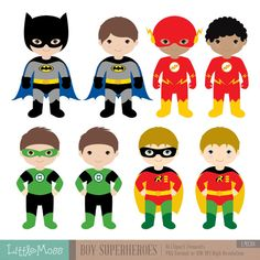 30% OFF SALE Boys Superhero Costumes Clipart 1 Boy by LittleMoss