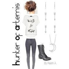 Hunter Of Artemis Casual Outfit, Cabin Percy Jackson Inspired Outfit Percy Jackson Outfits, Percy Jackson Fandom, Outfits For Teens, Cool Outfits, Fashion Outfits, Percy Jackson Drawings, Hunter Of Artemis, Fandom Fashion, Fandom Outfits