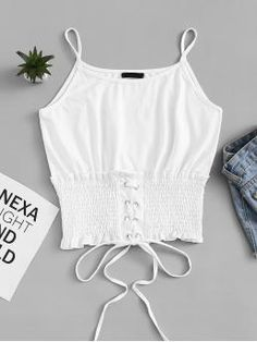 Casual Cami Plain Regular Fit Spaghetti Strap White Regular Length Lace Up Shirred Hem Cami Top Girl Outfits, Cute Outfits, Fashion Outfits, Cami Tops, Summer Tops, Casual, Bikinis, Lace Up, Plus Size