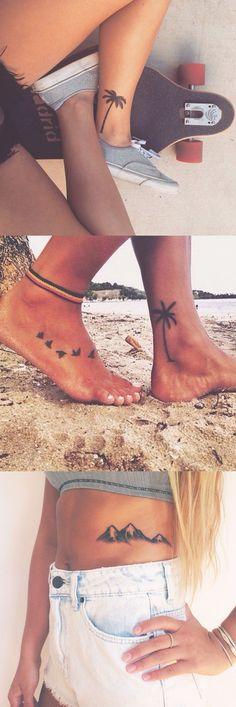 Palm Tree Tattoo Ideas for Women - Black Flower Ankle Foot Tatt - Mountain Rib Tat - MyBodiArt.com