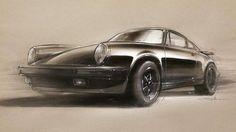 Designer Thomas Belhacene sketches his friend's #Porsche.