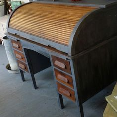 Fabulous antique roll top desk painted, glazed, and sealed with L'essentiel Botanics Beeswax.