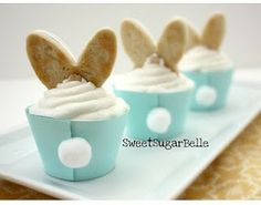 """Awwww.  Love this Easter Bunny cupcake idea.  This website has all the """"how to"""" details, too."""