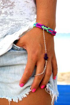 Purple Cross Handpiece Bright neon friendship by makunaima on Etsy, $21.90