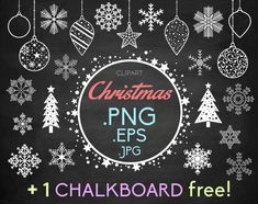 """Snowflakes clipart Christmas 1 FREE chalkboard: Christmas ice decorations balls trees and a starry frame snow flake PNG instant download by DesignLitter 5.00 USD """"Christmas"""" clipart Christmas and winter chalkboard scrapbooking elements 1 FREE chalkboard This Christmas collection includes: 14 snowflakes 2 Christmas trees Christmas decorations 7 (including 3 balls 3 drops and 1 star) and a starry frame. The files are .PNG (white on transparent background) .JPG (blacks on white background) and…"""