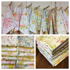 Vintage sheet napkins. What about a vintage sheet as a table cloth but with ruched ruffles so it doesn't look so bed sheet like?