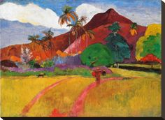 Paul Gauguin Tahitian Landscape painting for sale - Paul Gauguin Tahitian Landscape is handmade art reproduction; You can shop Paul Gauguin Tahitian Landscape painting on canvas or frame. Paul Gauguin, Henri Matisse, Landscape Art, Landscape Paintings, Landscape Prints, Gauguin Tahiti, Popular Paintings, Impressionist Artists, Oil Painting Reproductions