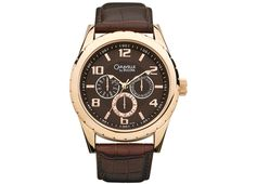 Caravelle Gents Rose-Tone Stainless Steel Watch .