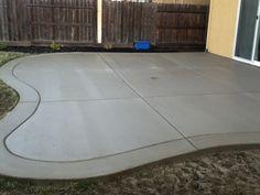 curved back yard patio, broom finish with border - Modern Design Concrete Patios, Colored Concrete Patio, Concrete Patio Designs, Cement Patio, Backyard Patio Designs, Poured Concrete, Patio Ideas, Stamped Concrete, Porch Ideas