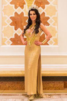 Kathy Polston-Dalton.  In Dubai. Gown by Venzuelan designer Antonio Corbie.