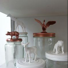 This is brilliant! Take small toys and glue on top of lids and paint! Animals are not the only option!!!!!