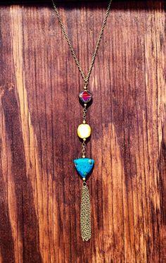 Blue triangle long tassel necklace