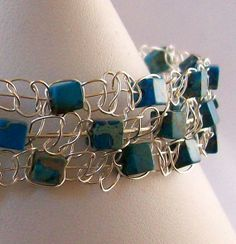 Silver Wire Macrame and Blue Picture Jasper by DealanachDesigns, £22.50