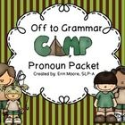 Free! Off to Grammar Camp! 54 cards with answer choices targeting subjective and possessive pronouns. Pronoun worksheet