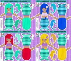 rag dolls: mermaids - cut and sew pattern template fabric by katarina on Spoonflower - custom fabric