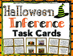 Your students will love practicing inference with these 32 Halloween themed inference task cards!