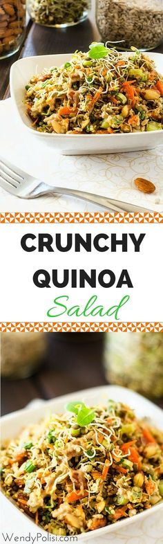 Crunchy Quinoa Salad - This Crunchy Quinoa Salad is loaded with texture and flavor. This vegan salad recipe is one the whole family will love. Delicious and Nutritious! #quinoa #quinoasalad #vegan #vegetarian #veganrecipes