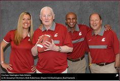 #WSU #GoCougs Broadcast team. Jessamyn McIntyre, Bob Robertson, Shawn McWashington, Bud Nameck