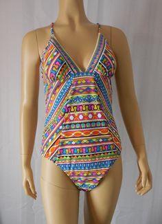 TRINA TURK Swim Suit sz 12 multi color Peruvian Stripe 2015 Collection NWT #TrinaTurk #OnePiece