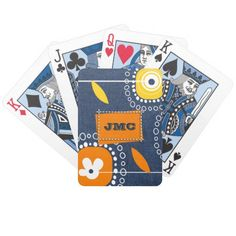 Custom Monograms Gift Playing Card Deck. Denim Pattern Design Father's Day Gift Playing Card Deck with customizable monograms. Perfect gift for him for Father's Day / Dad to be / Birthday / Thank You / Any Occasion. Matching cards, postage stamps and other products available in the Holiday / Father's Day Category of  the Mairin Studio store at zazzle.com